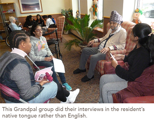 Three students chat with a resident in the common room