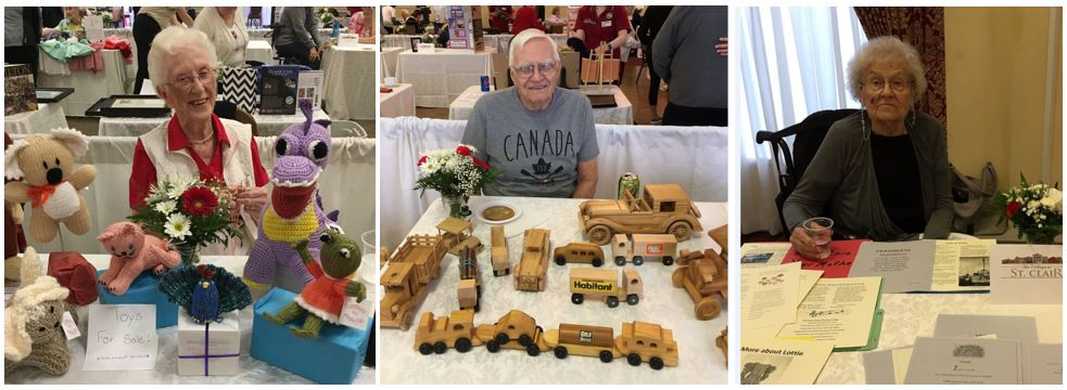 This is three photos combined: Dorothy poses with the toys she knits and sells for charity; Harry shows off his woodworking skills; Marie poses with some of the poems, plays and stories she has written over the years.