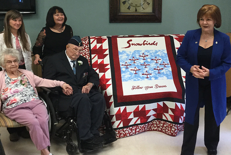 Arthur gets presented with the Snowbirds quilt