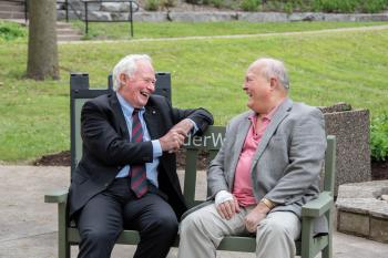 Two men, The Right Honourable David Johnston, former Governor General of Canada, and Ron Schlegel, share stories and laughter upon the #ElderWisdom bench on a late spring afternoon in Guelph.