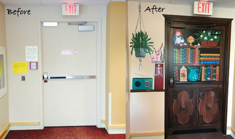 A before and after shot, showing a plain white door alongside a door painted to resemble a bookshelf