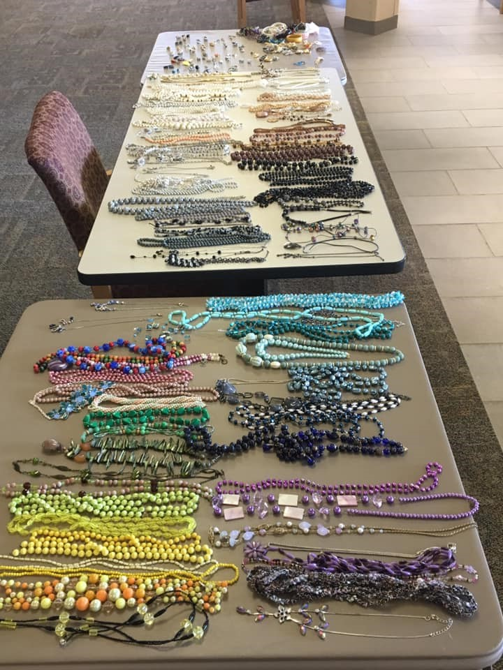 Jewellry laid out on a table