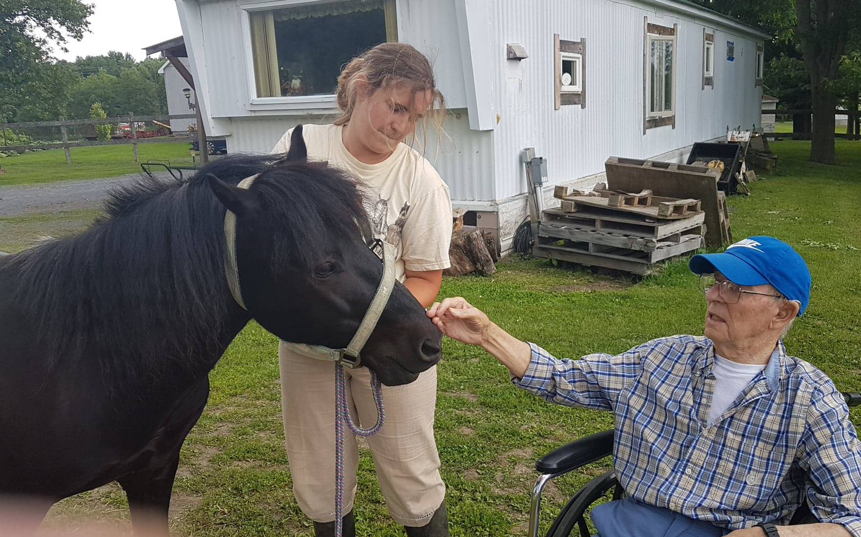 Robert is outside petting the horse from his wheelchair