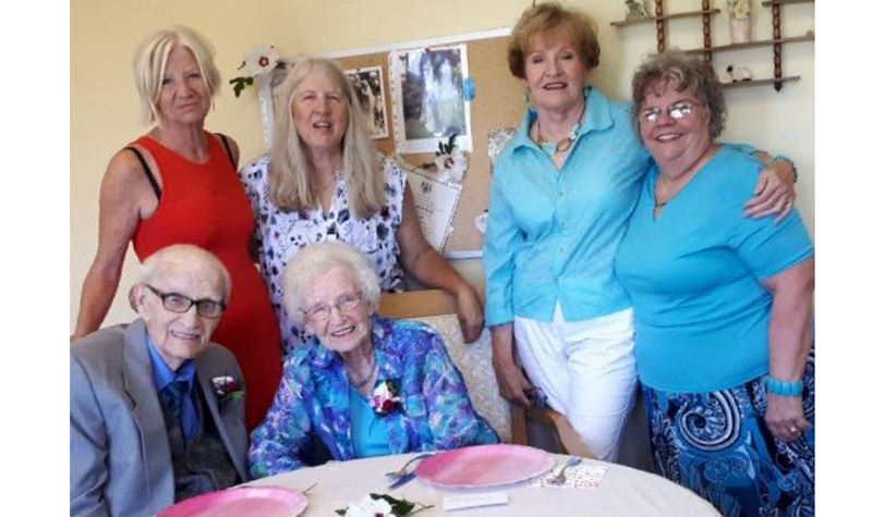 Ruth Kelly, who has been staying at Wildwood Care Centre as a respite admission, was recently joined by her husband at the home to celebrate their 72nd anniversary. The couple's four daughters, pictured standing, joined their mom and dad for the celebration